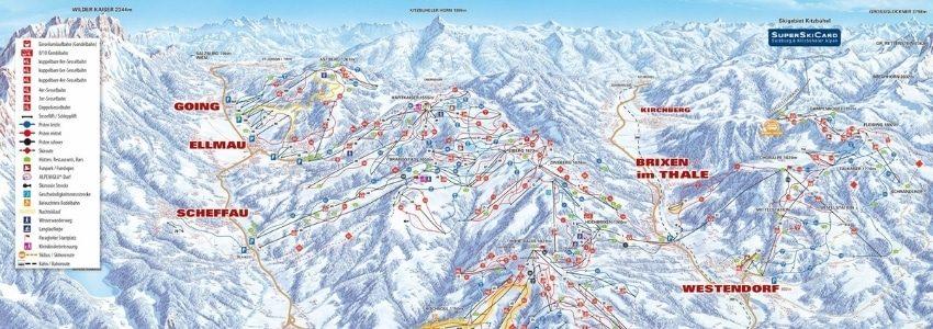 Pistekort over SkiWelt Wilder Kaiser - Brixental