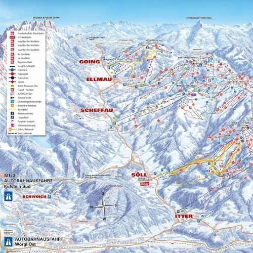 Et pistekort over SkiWelt Wilder Kaiser - Brixental